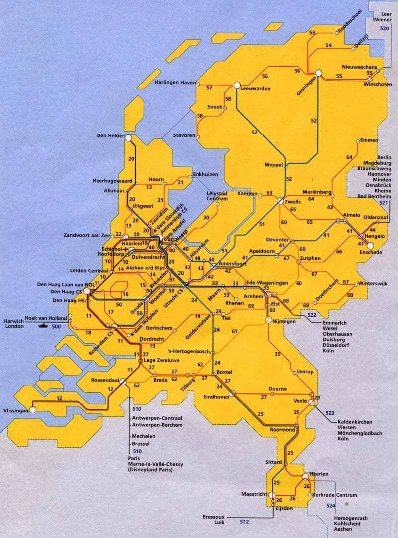 Spoorkaart Nederland Trein Holland