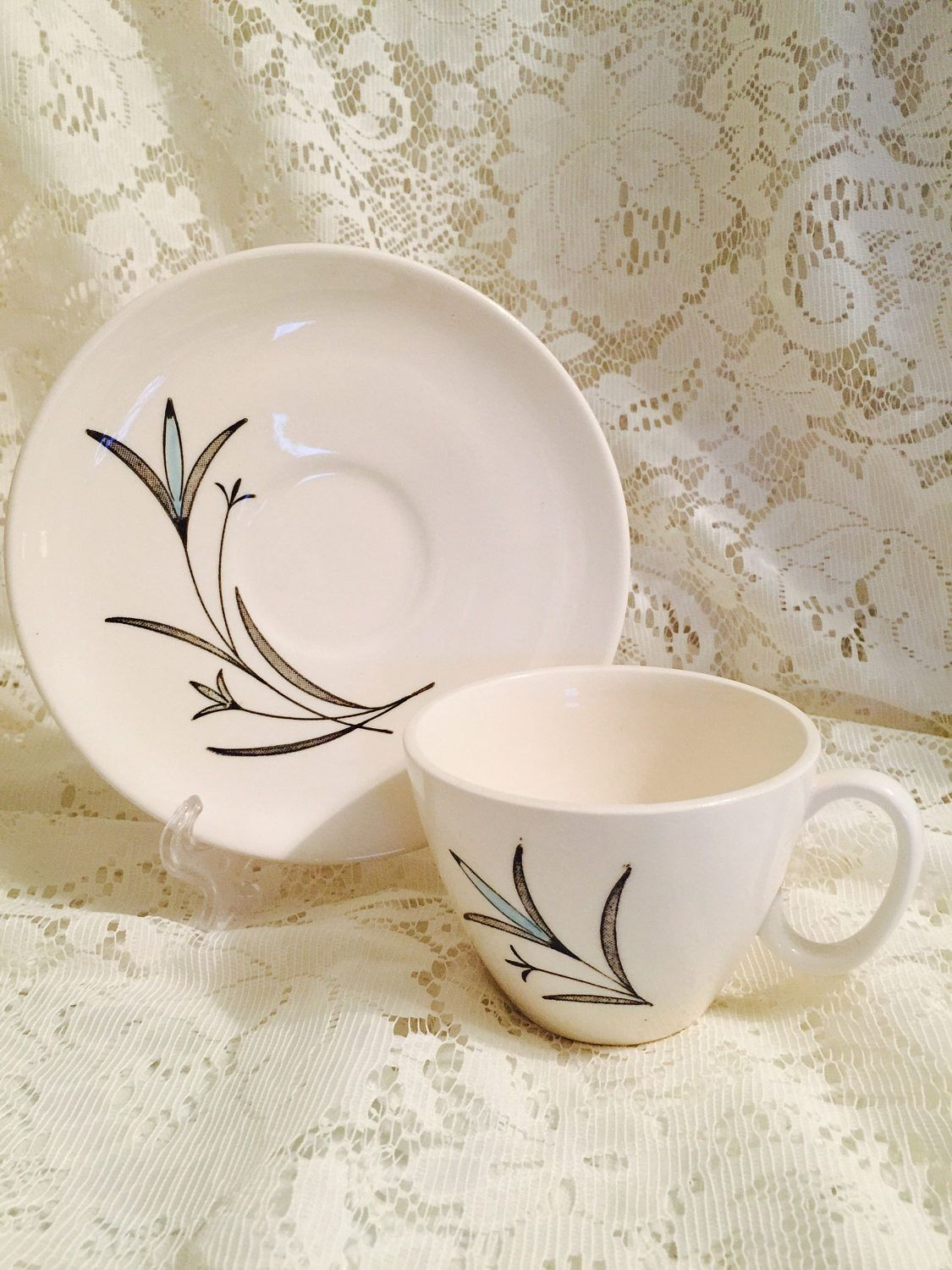 12 Royal China Inc. Teacup and Saucer Sets In Ballet - Light Blue and Black on White - Party - Brunch - Bed And Breakfast - Coffee Tea #freereadingincsites