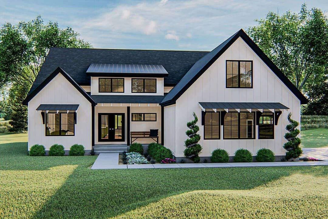 America S Best House Plans On Instagram If You Love The Unique Style Of A Modern Far In 2020 Farmhouse Style House Farmhouse Style House Plans Modern Farmhouse Plans