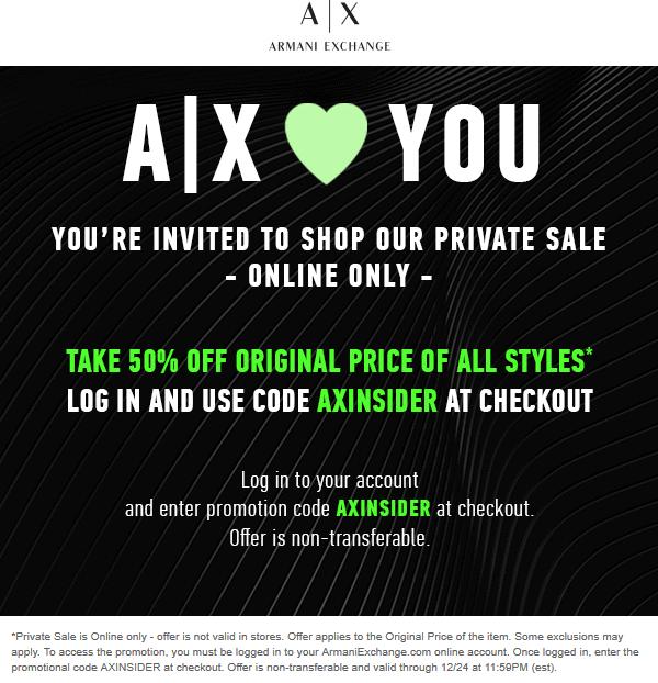 armani exchange online coupons