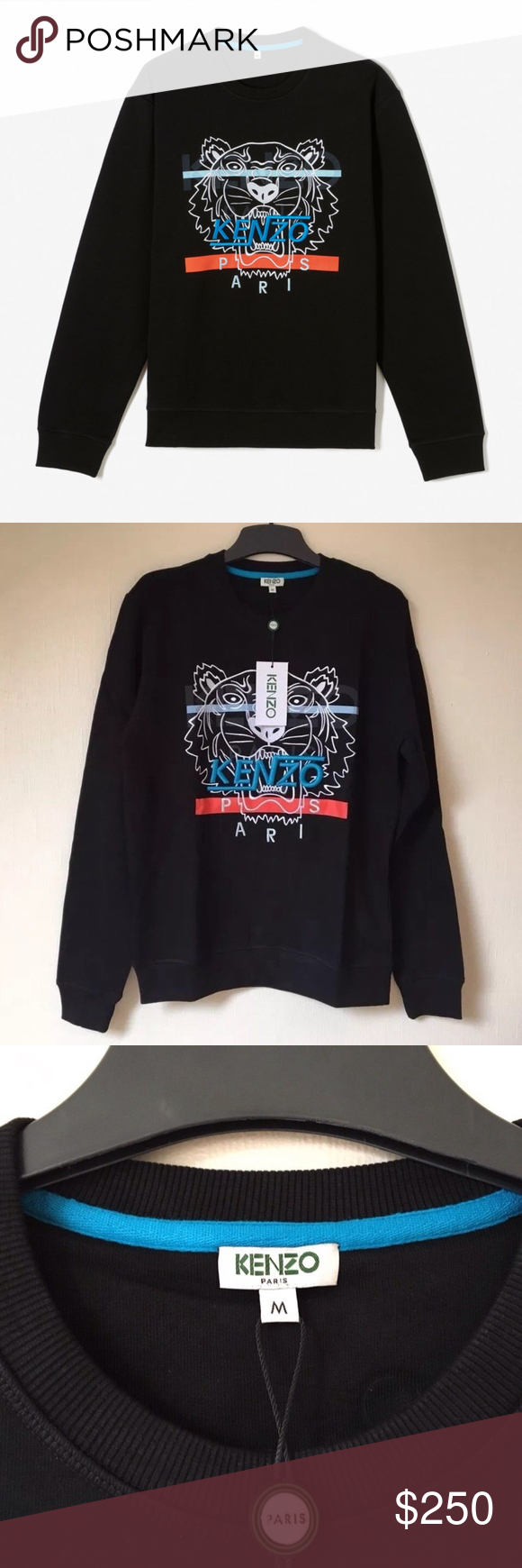 e1d7402a278251 KENZO Men's HYPER TIGER SWEATSHIRT BLACK NEW BRAND NEW, UNWORN, WITH TAGS,  IN