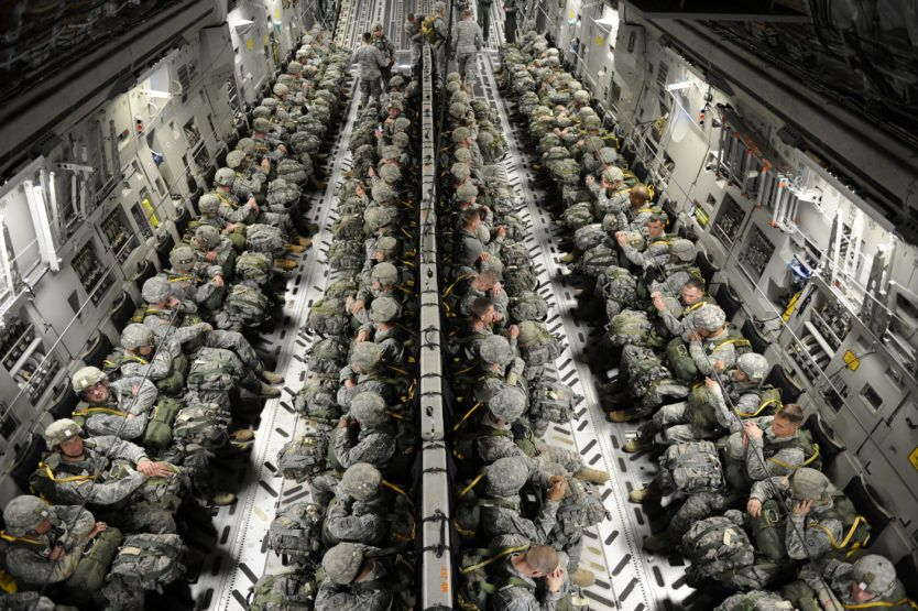 Paratroopers Static Line Jump From C17