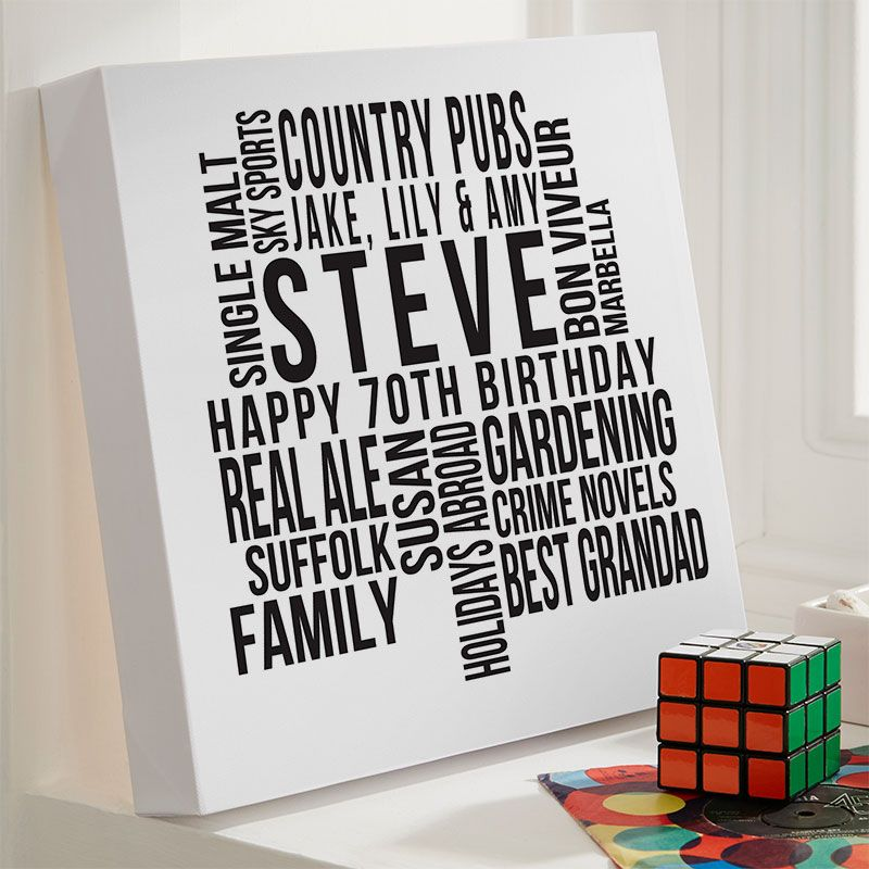 Personalised 70th Birthday Gift For Him Of Text Art Canvas Print Beautiful Word