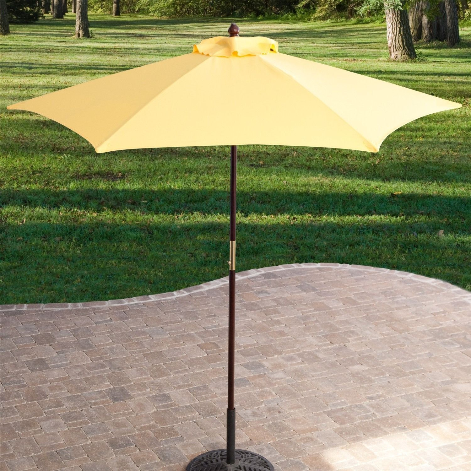 Yellow 7.5 Ft Patio Umbrella With Dark Mahogany Stained Pole