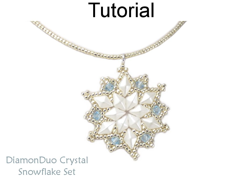 Diamonduo Crystal Snowflake Winter Holiday Earrings Pendant Necklace Two Hole Beads Jewelry Making Pattern Tutorial By Simple Bead Patterns