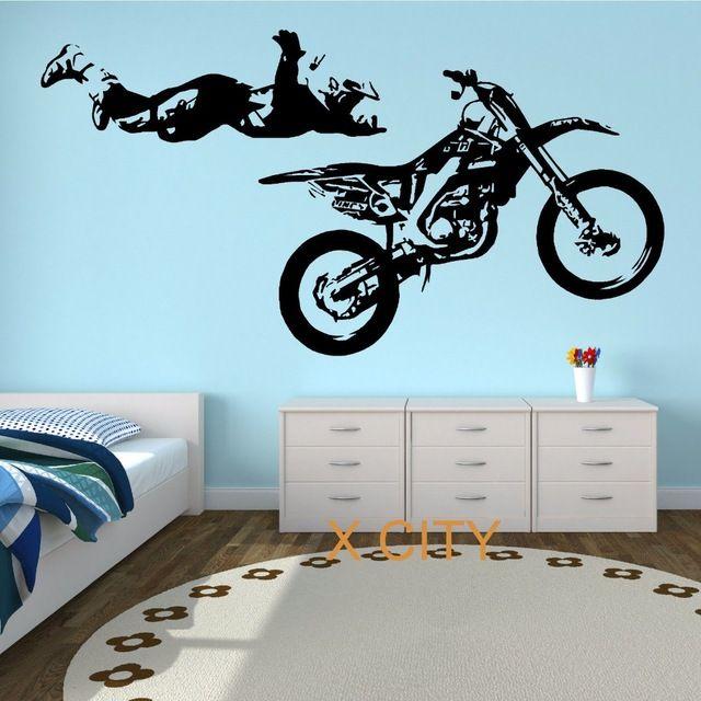 Motorcycle motocross stunt action vinyl wall art sticker boy bedroom moto bike