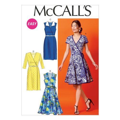 McCalls-6959-Summer-Sun-Belt-Wrap-Dress-Sleeves-Sleeveless-Sewing ...
