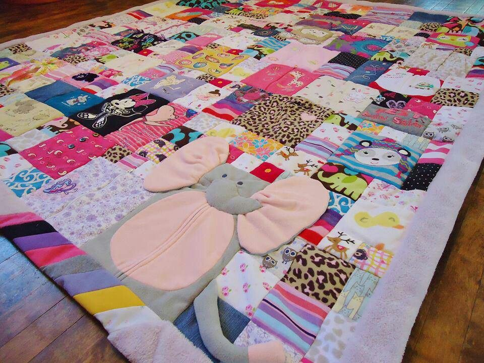 Baby memory quilt    made from old baby clothes