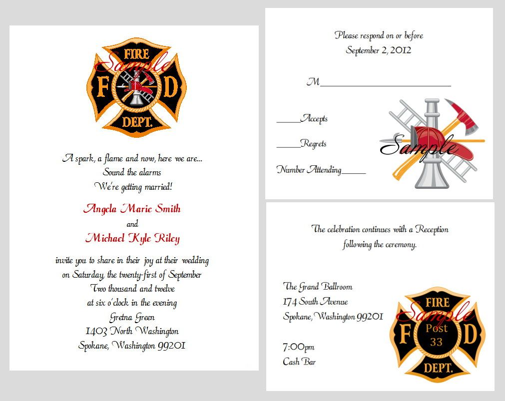 100 Personalized Custom Firefighter Bridal Wedding Invitations Set
