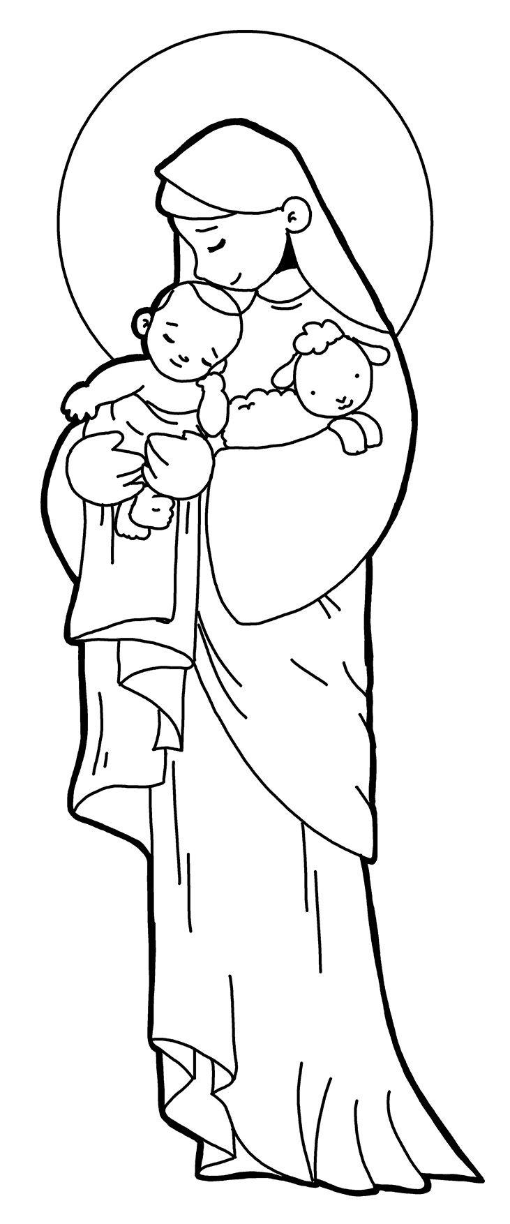 MADRE DEL CORDERO DE DIOS para pintar. | ESTAMPAS RELIGIOSAS | Pinterest