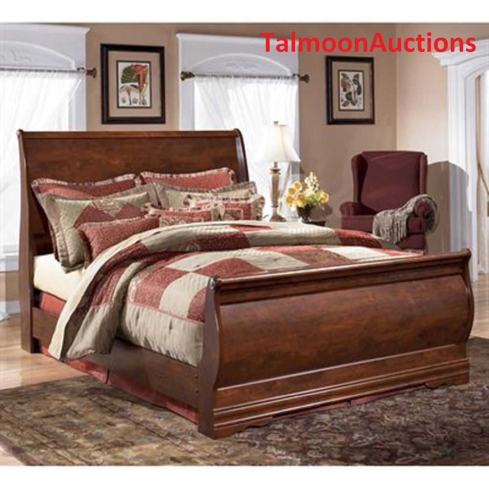 queen size sleigh bed bedroom furniture wood