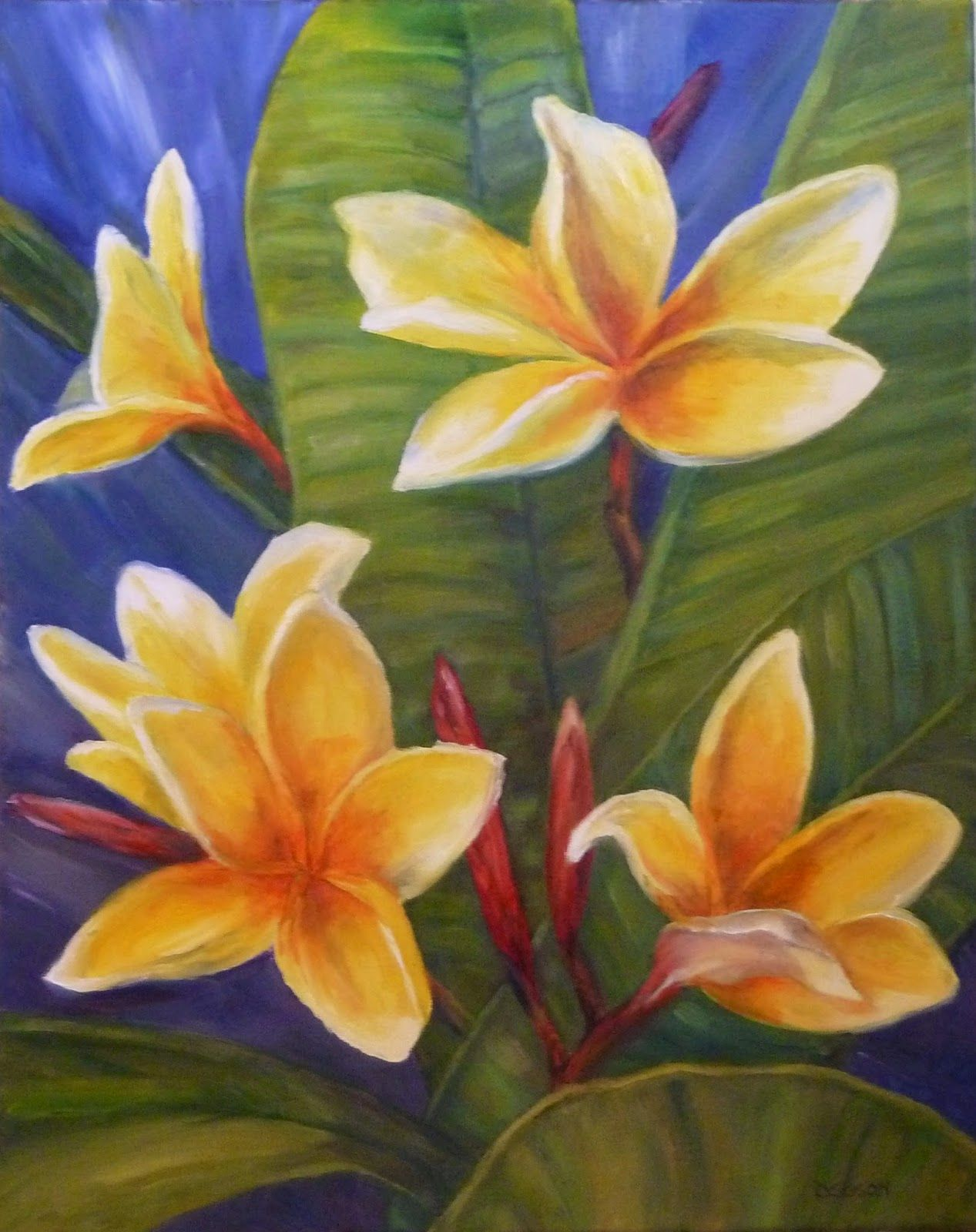 Aztec gold plumeria oil on canvas 14 x 11 the plumeria painting the plumeria painting was commissioned by an admirer of this beautiful exotic flower they grow as large shrubs or small trees izmirmasajfo