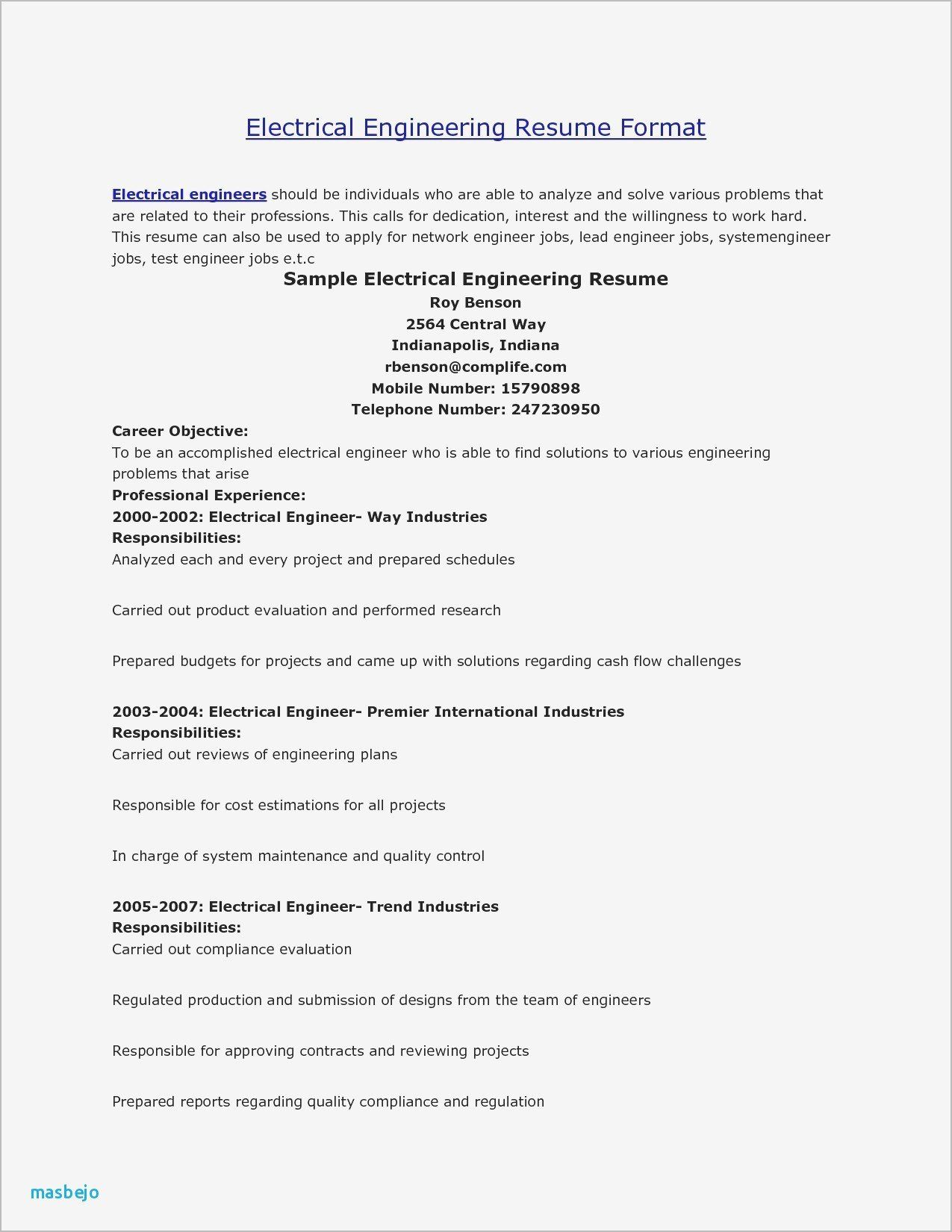 32 Beautiful Electrical Engineer Resume Sample in 2020