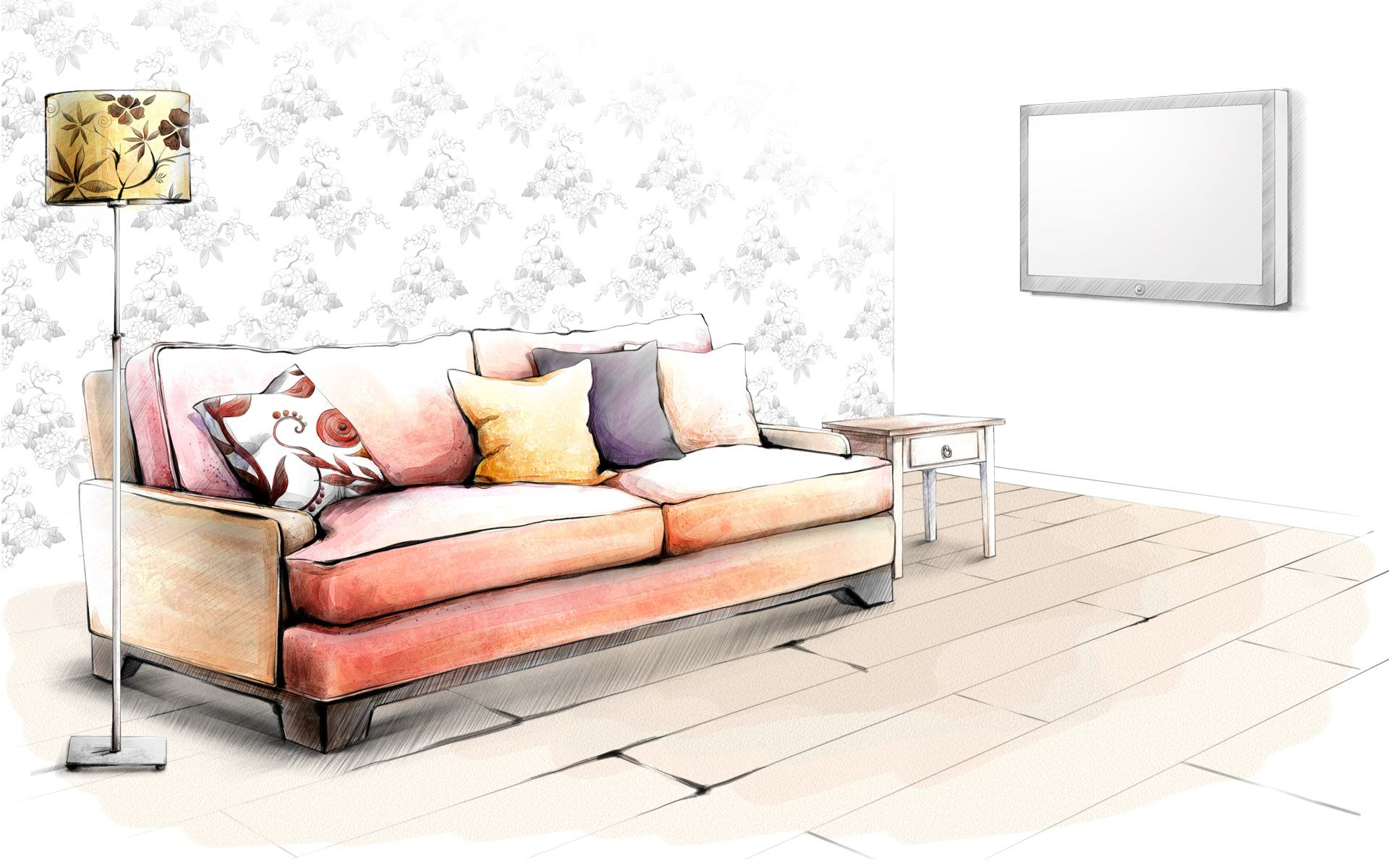 drawing interior wallpaper photos art