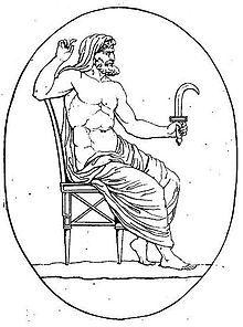 Cronos armé de la faucille (harpè) contre son père et divers médaillons pierre gravée crop - Crono - Wikipedia, la enciclopedia libre