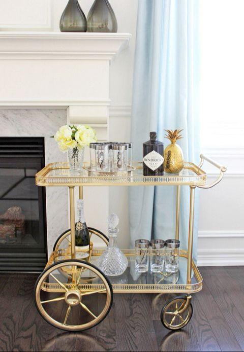 Silver Bar Cart Br Gold Pinele Decor Design Vintage