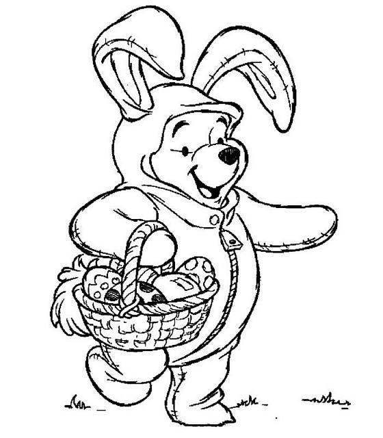winnie the pooh che raccoglie le uova di pasqua disegno da