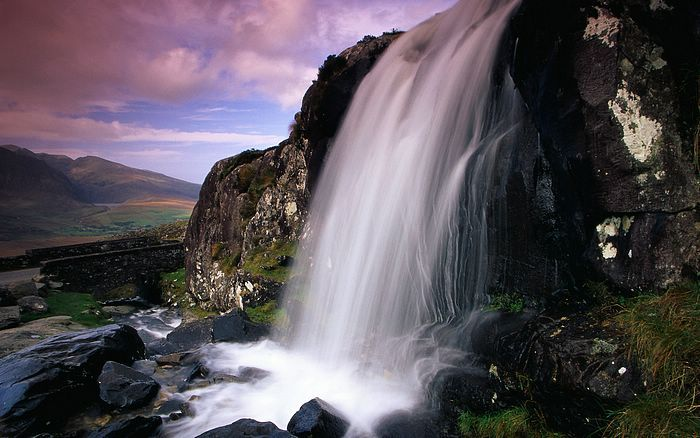Waterfall at Conor Pass (highest mountain pass in Ireland) ... Dingle Peninsula, Co. Kerry, Ireland