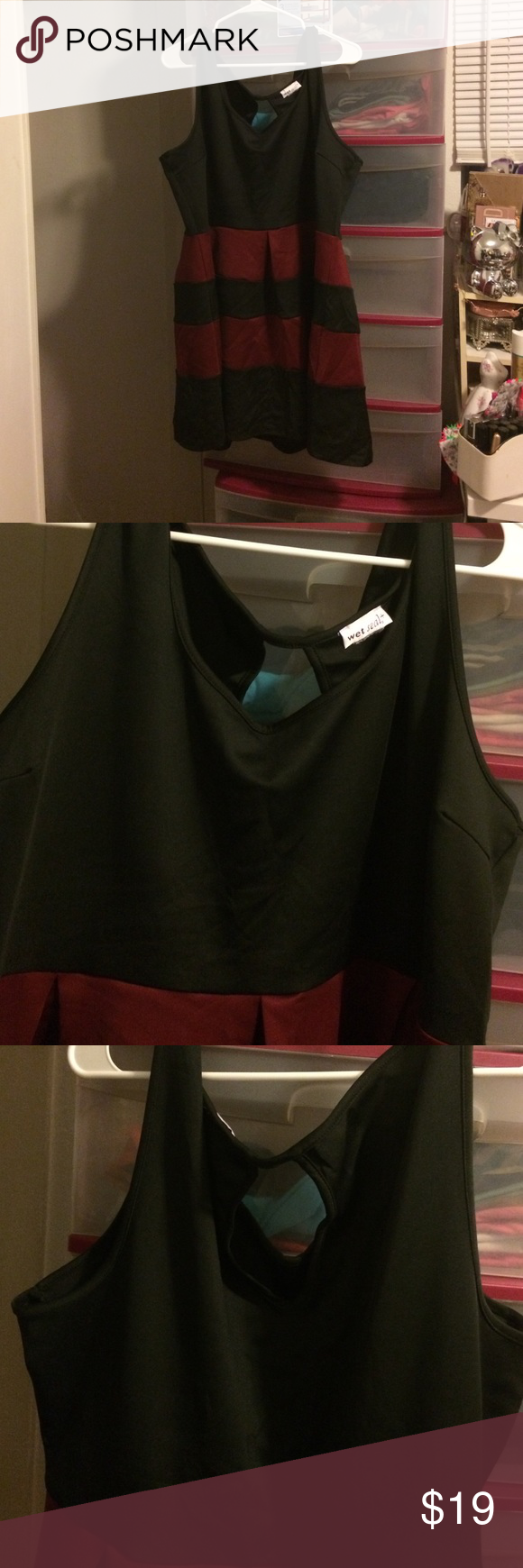 3XL Plus Size black & maroon dress New, never worn. No tags. I have a thing where I like to cut my new clothes tags off & the size tag ugh.... lol Wet Seal Dresses