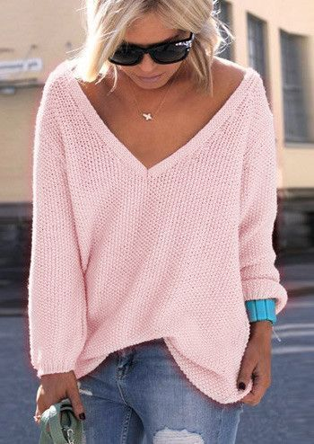 13872c42aa33c V-neck Loose Knit Pure Color Pullover Sweater