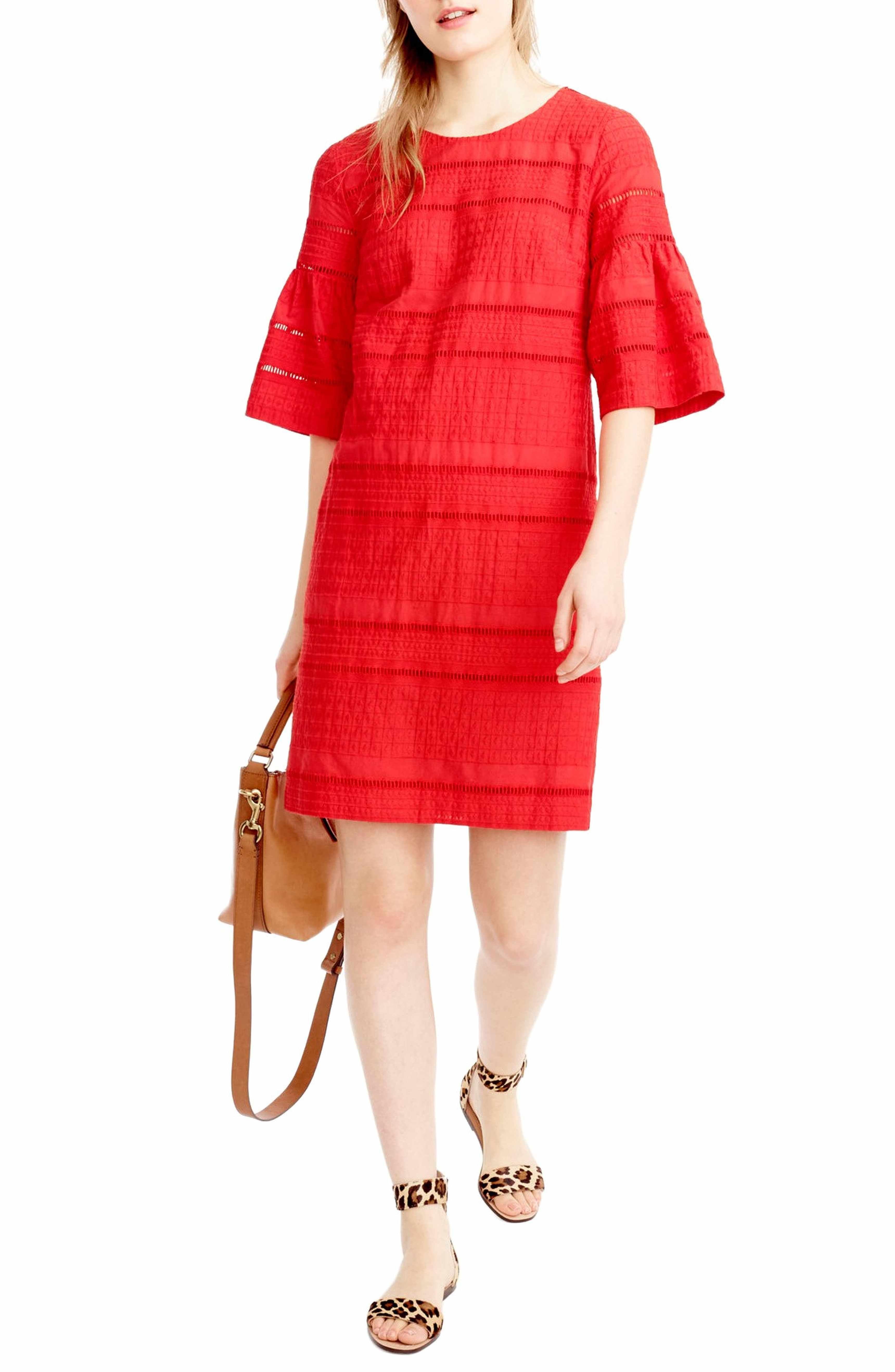 J Crew Flutter Sleeve Eyelet Shift Dress Regular Petite Nordstrom Shift Dress Short Sleeve Dresses Jcrew Women [ 5272 x 3440 Pixel ]