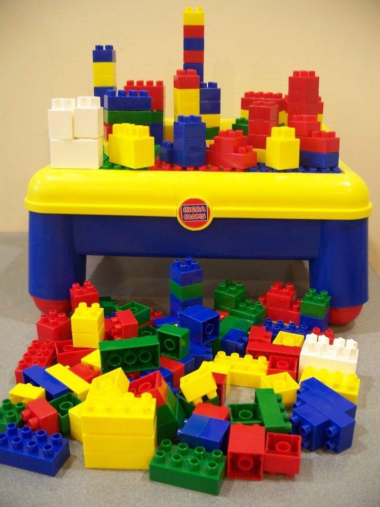 MEGA BLOKS TABLE & 175 BLOCKS COMPATABLE lego duplo ...