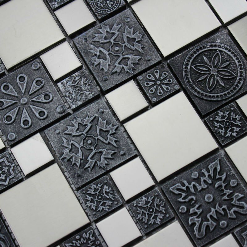 Mosaic tile mirror sheets resin stainless steel pattern wall ...