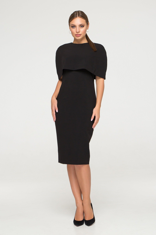 Elegantes Kleid MEGAN mit separaten Cape in Schwarz, ärmelloses