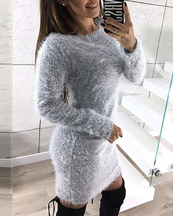 73457623d4 Fashion Women Solid Dress Autumn and Winter Long Sleeve Warm Sweater –  lalasgal