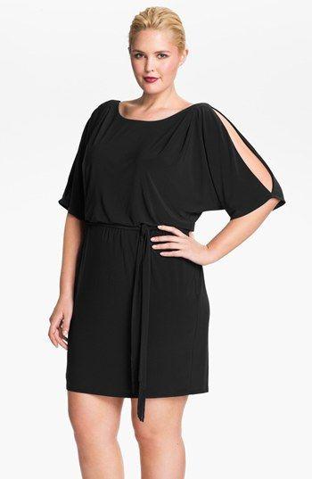 Jessica Simpson Cold Shoulder Matte Jersey Blouson Dress Plus Size