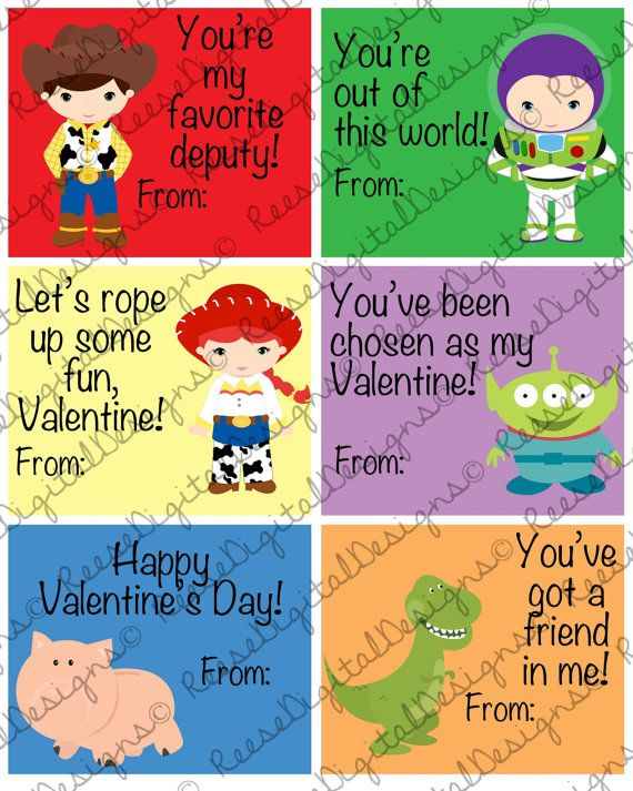 Printable Valentine S Day Cards Toy Story Kids Classroom Cards