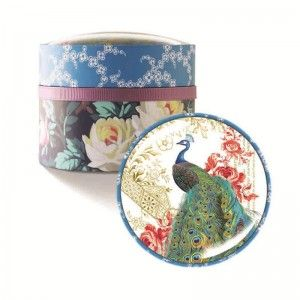 Fringe Domed Box Soap Peacock. These handmade Decoupage glass dome boxes are based on a collection of antique paper and glass boxes found at a Paris flea market.