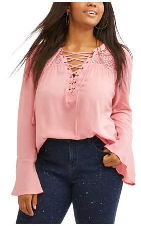 No Boundaries No Boundaries Junior Plus Lace Up Lace Y Walmart Com Bell Sleeve Blouse Junior Plus Size Blouse