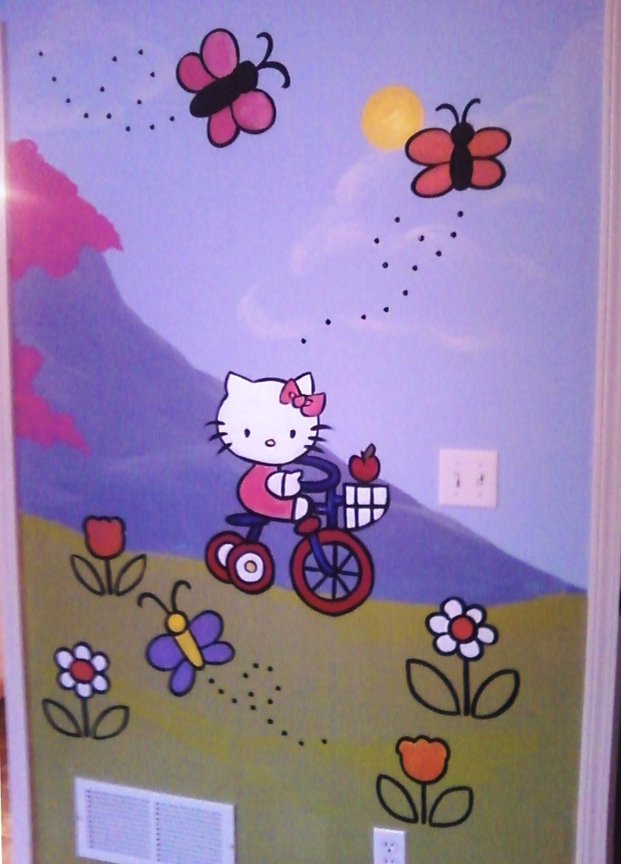 Hello Kitty Wall Mural Hello Kitty Bedroom Cat Bedroom Hello Kitty Bed