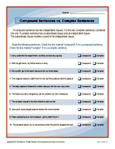 Compound Sentences Vs Complex Sentences Worksheet With Images