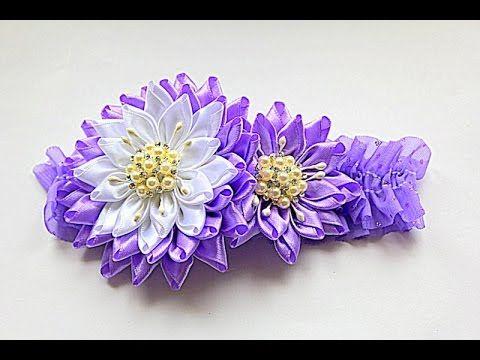 Цветы из Лент для Варвары   Канзаши Мастер- Класс   KANZASHI   DIY - YouTube