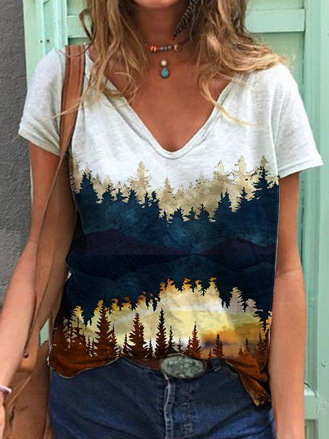As Picture Short Sleeve V Neck Women Tops - Hawali