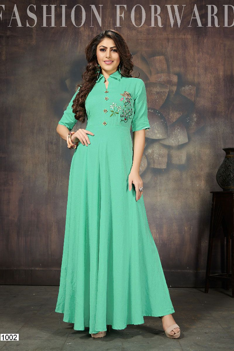 58c5cfb841575 Green-Fancy-Collar-Neck-Style-Embroidered-Gown-Style-Kurti-1002 ...