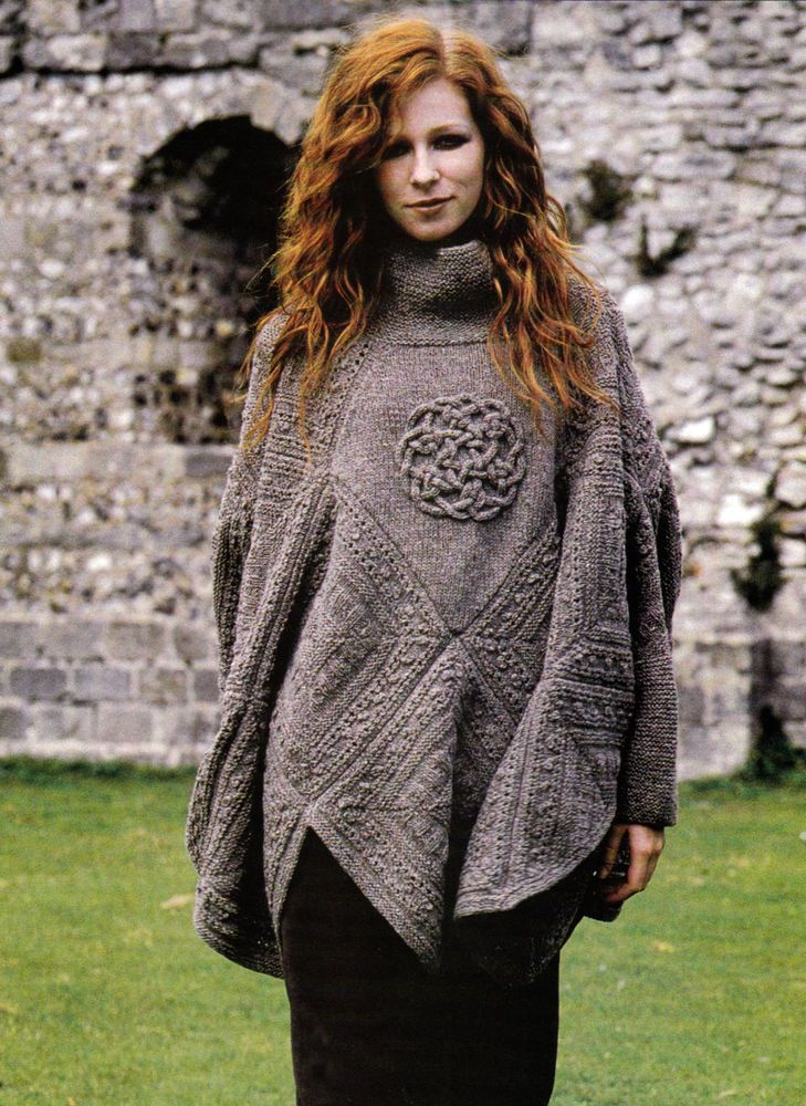 Knitting Pattern 9104 Ladys Poncho With Sleeves Celtic Knot Icord