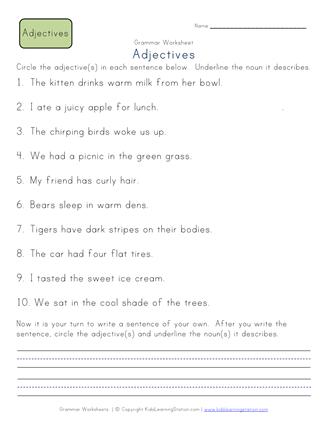 2nd grade adjectives worksheet | Grammar | Adjective worksheet ...
