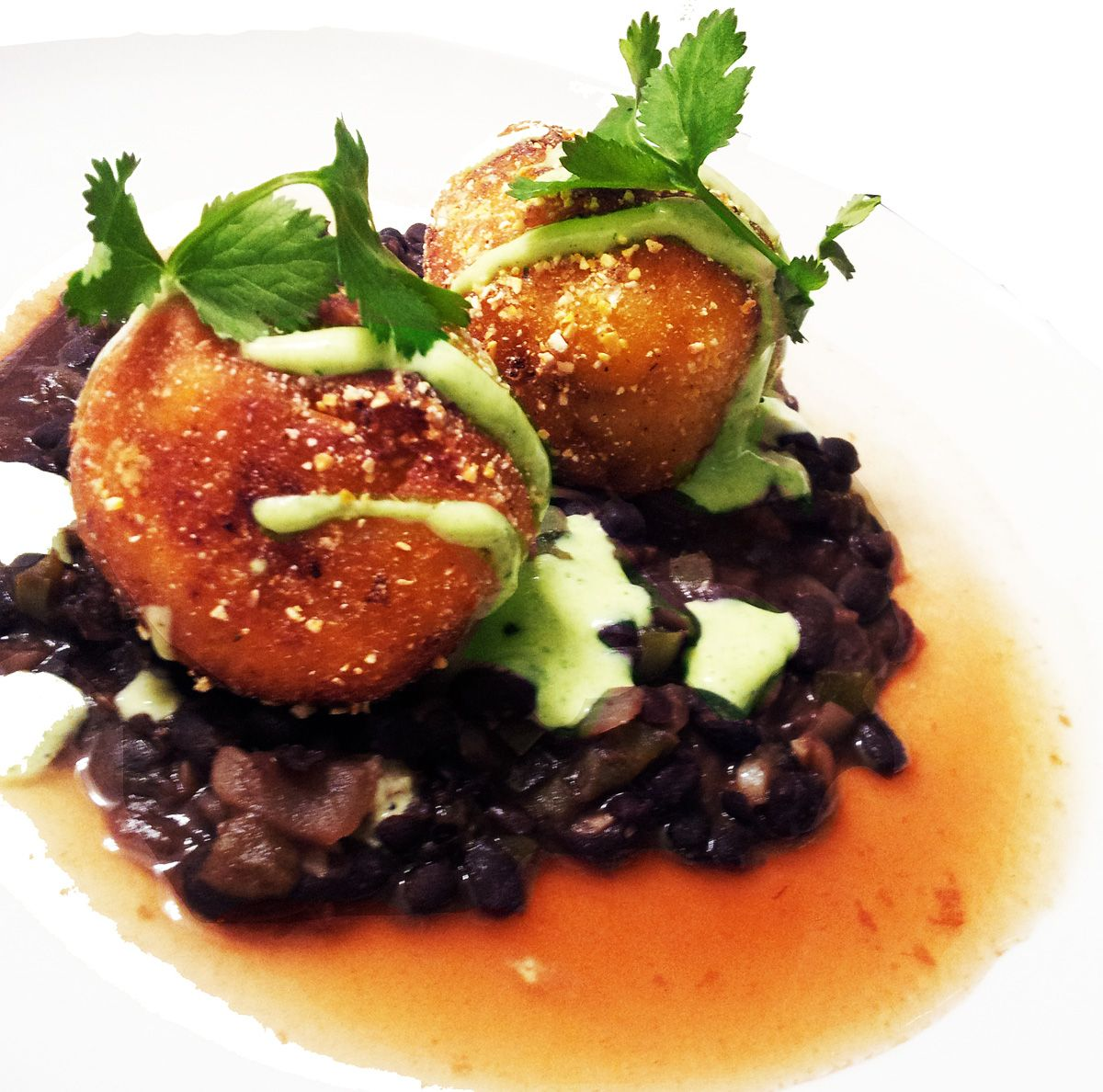 Plantanos Rellenos with Smokey Black Beans, Green Chile Crema & Tamarind Broth