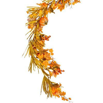 "Alcott Hill 60"" Fall Garland with Long Grasses, Berries, Pumpkins and Leaves"