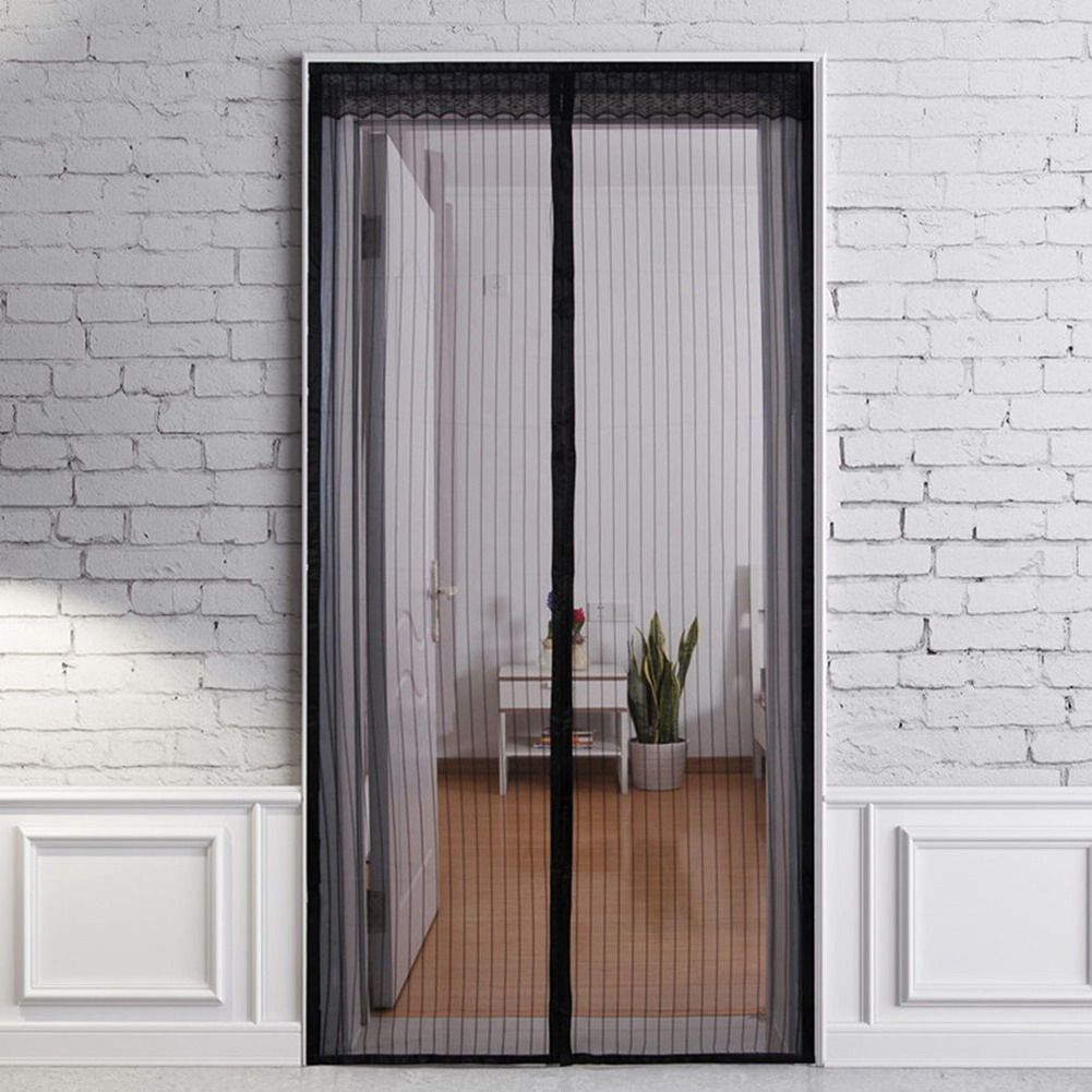 Black Hands Free Magic Mesh Screen Net Door With Magnets Anti Mosquito Bug Curtain 2100 X 1000mm Magnetic Mosquito Net Sell Price Magnetic Screen Door Win