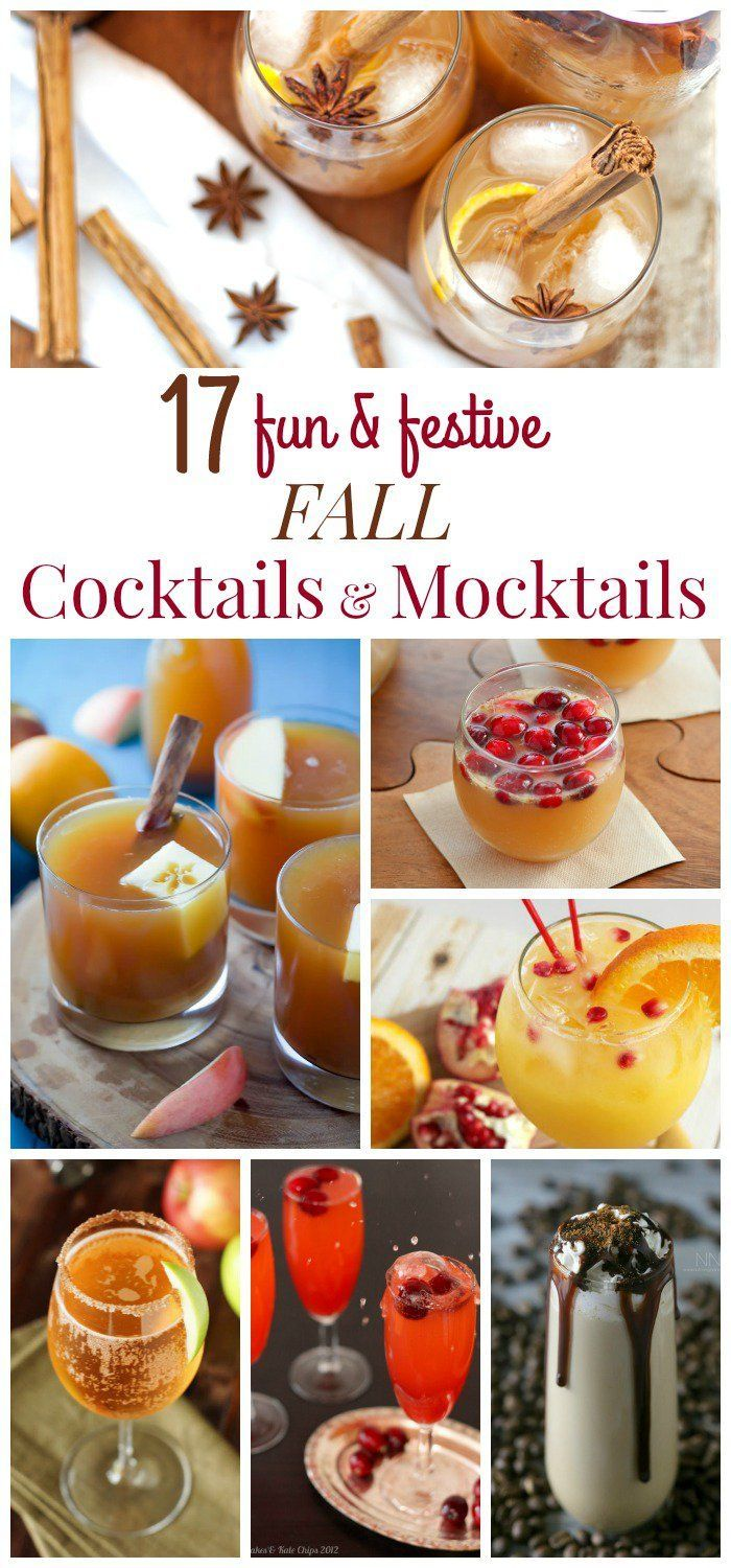17 Fun and Festive Fall Cocktails and Fall Mocktails - from sangrias and shandys to punches and potables, add a little autumn flavor to your beverage selection at your next party, whether its for the kids, the adults, or the entire family!