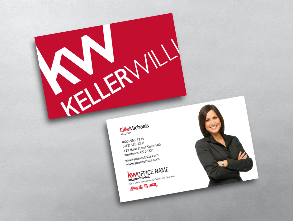 This Simple And Clean Keller Williams Business Card Layout Features A Large Kw Logo On Red Keller Williams Business Cards Business Cards Layout Card Templates