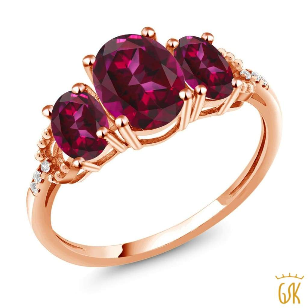 10K Rose Gold 3-Stone Diamond Accent Ring 8x6mm Set W/ Red