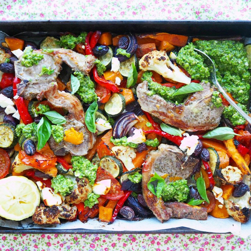 lamb tray bake with mediterranean vegetables and pea pistou