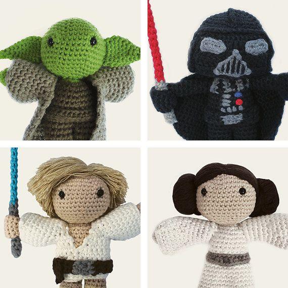 Star Wars Pack: Yoda, Darth Vader, Luke Skywalker & Leia. Amigurumi ...