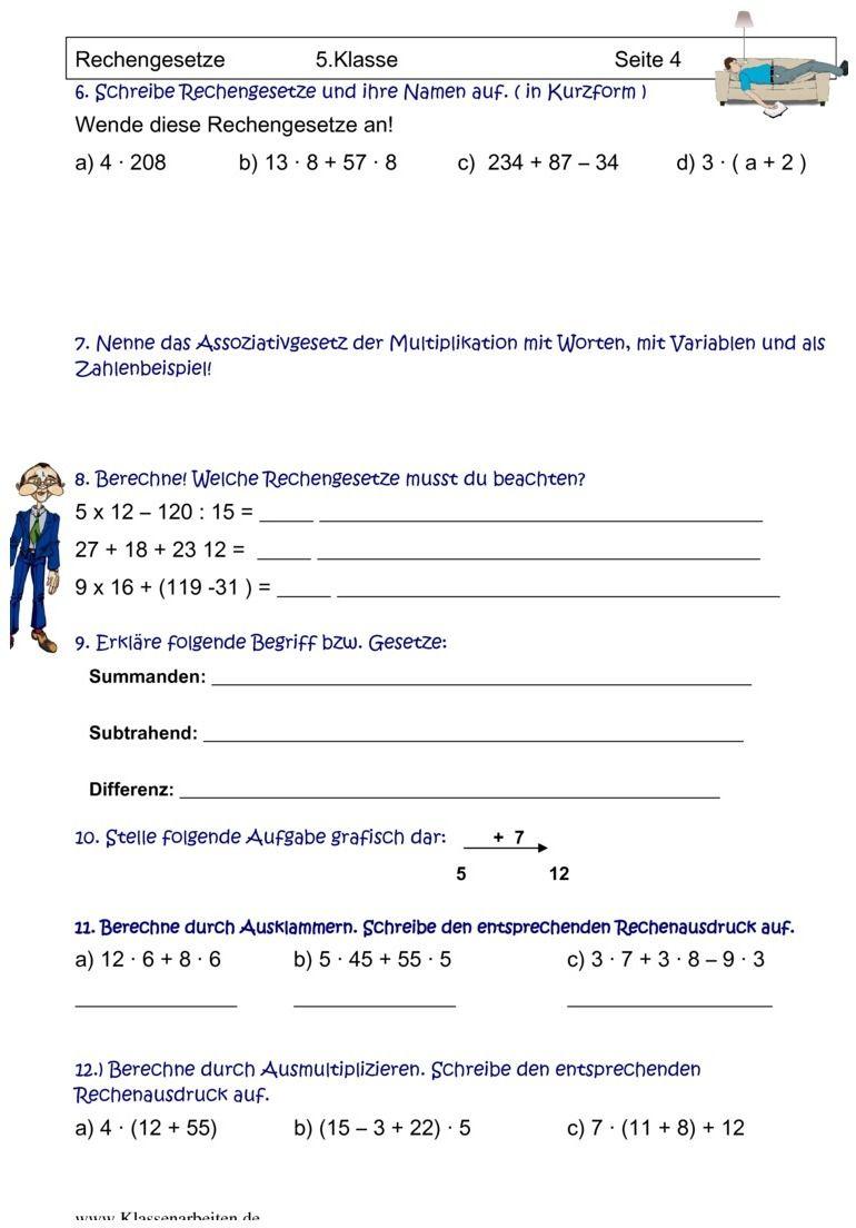 übungsblatt Zu Rechengesetze Mathe Mathematik Und Rechnen