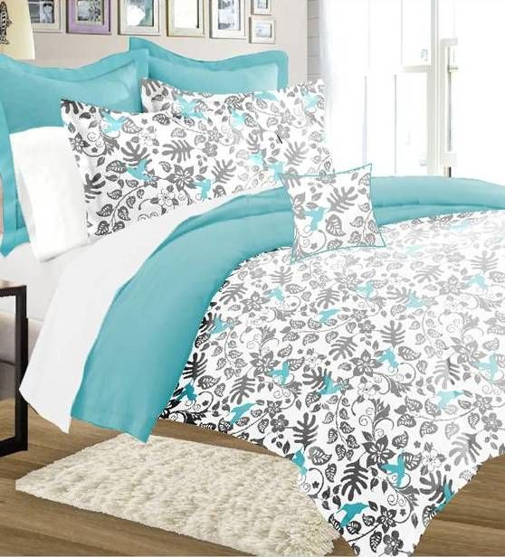 8-piece Forest Bird, Gray And Blue Comforter Set For $49